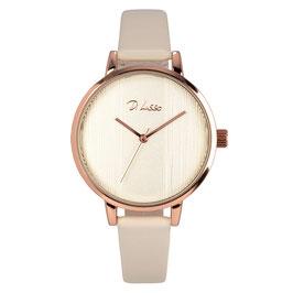 Horloge rosé-goud + beige