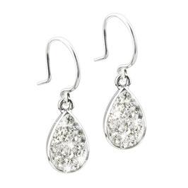 Zilveren oorcreolen met crystals