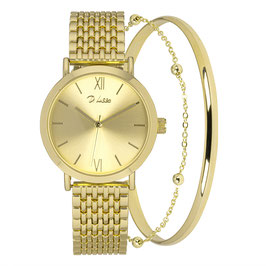 Horloge set goud met 2 armbanden