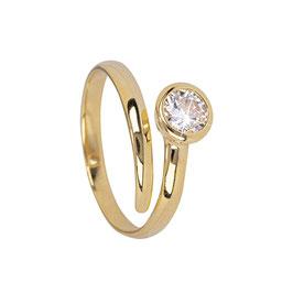 Sterling zilveren ring met zirkonia gold plated Stacey