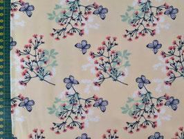 Baumwolljersey Blütenranken Schmetterlinge gelb/rosa/grau