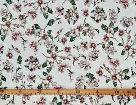 Viskosejersey Blumenprint weiß/rosé