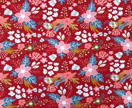 Biojersey Blumen rot/rosa/weiß