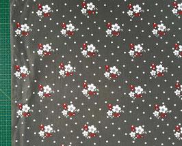 Baumwolldruck Blumen und Punkte