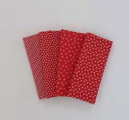 Stoffpaket kleine Muster rot