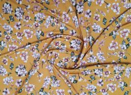 Viskosejersey Blumenprint senfgelb/rosé
