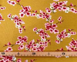Baumwollsweat Kirschblüten senfgelb