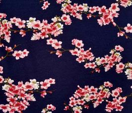 Baumwollsweat Kirschblüten blau