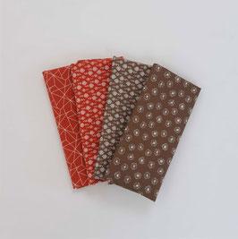 Stoffpaket kleine Muster rot/braun