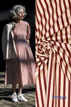 Baumwolldruck Streifen rostrot/weiß Fibre Mood