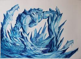 Golem de glace - Aquarelle