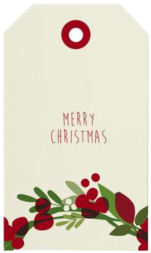 Geschenkanhänger Beerenkranz Merry Christmas