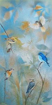 Singvögel im Herbstlaub