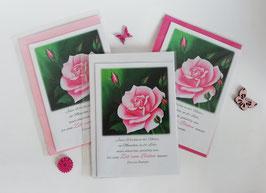 "Karten-Set ""Rose in Pink"""