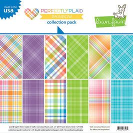 Lawn Fawn - Perfectly Plaid Collection - Rainbow - 30 cm x 30 cm