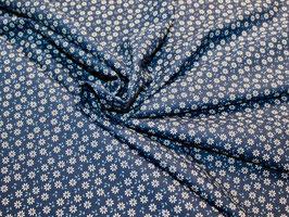 Blumen dunkelblau Popeline Baumwollstoff