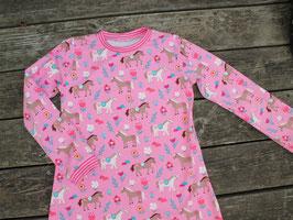 Nachthemd langarm Pferde pink