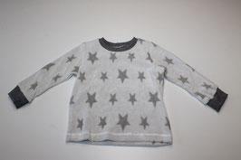 86/92 Langarmshirt Frottee Sterne weiss-grau