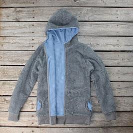 Kuschelige Baumwollteddy-Jacke komplett gefüttert, grau-blau