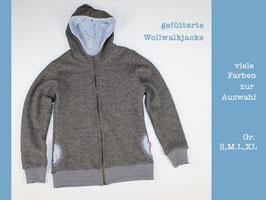Wollwalkjacke gefüttert grau/Anker