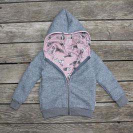 Gefütterte Walkjacke Fuchs grau-rosa