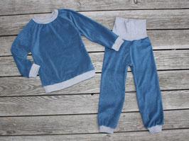 Frottee-Schlafanzug jeansblau-grau oder viele andere Farben