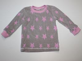 86-104 Langarmshirt Frottee Sterne grau-rosa