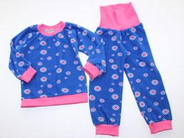 Frottee-Schlafanzug Blumen blau-pink