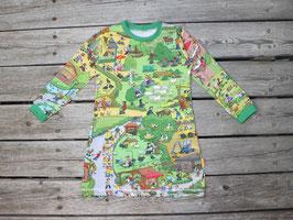 Nachthemd langarm Wimmellandschaft grün-bunt