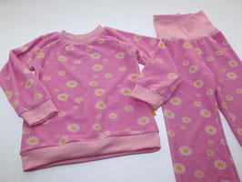 Frottee-Schlafanzug Blumen rosa