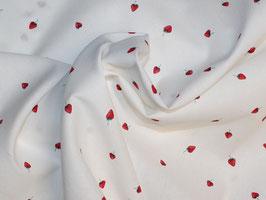 Erdbeeren weiss-rot Popeline Baumwollstoff