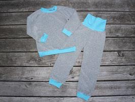 Frottee-Schlafanzug grau-türkis oder viele andere Farben