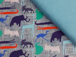 Schlafanzug Wildtiere grau-türkis