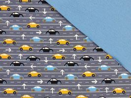 Schlafanzug Autos blau-gelb