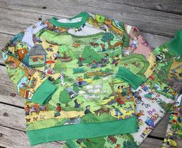Schlafanzug Wimmellandschaft grün