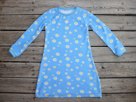 Frotteenachthemd langarm Blumen hellblau