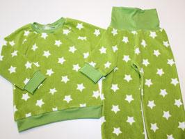 98/104 Frottee-Schlafanzug Sterne grün