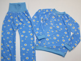 Frottee-Schlafanzug Blumen hellblau