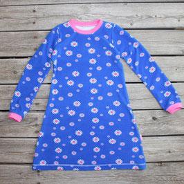 Frotteenachthemd langarm Blumen blau-pink