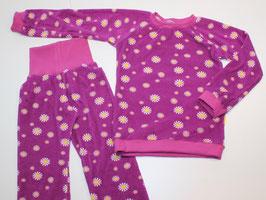 Frottee-Schlafanzug Blumen lila