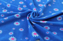 Stretchfrottee Prilblumen blau-pink