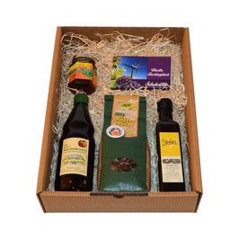 Geschenkbox Käferbohnen, Holzapfelessig, Kürbiskernöl, Löwenzahnhonig, Uhudler Schokolade