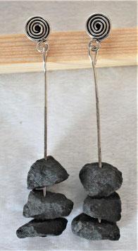 Ohrstecker mit Basaltsteinen und Edelstahlröhrchen