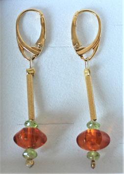 Bernstein-Peridot-Ohr-Klapp-Brisuren mit 925-Silber-vergoldeten Röhrchen