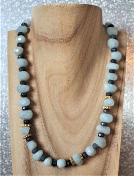 Aquamarin-Jade-Kette mit vergoldeten Keramik-Modulen und Magnet-Verschluss