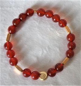 Karneol-Armband mit vergoldeter Schnecke und Hämatitstäbchen