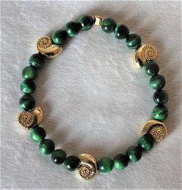 grünes Tigerauge-Armband mit vergoldeten Schnecken