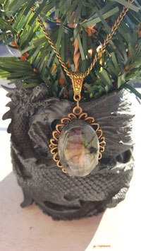 collier pierre labradorite support dorée