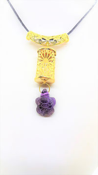 collier pendentif cylindre tortue amethyste