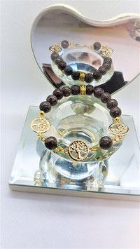 bracelet arbre de vie obsidienne brun
